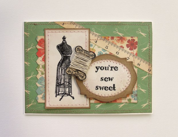 "Another Mojo Monday card. The coordinating papers, stitching, and vintage feel make this one ""sew sweet"" ;)"
