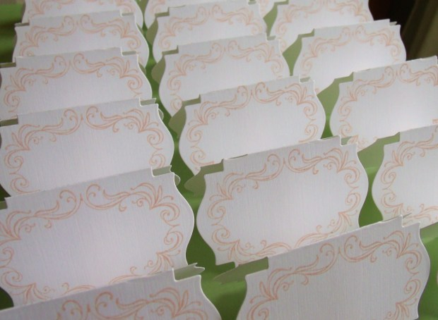 place cards white and peach