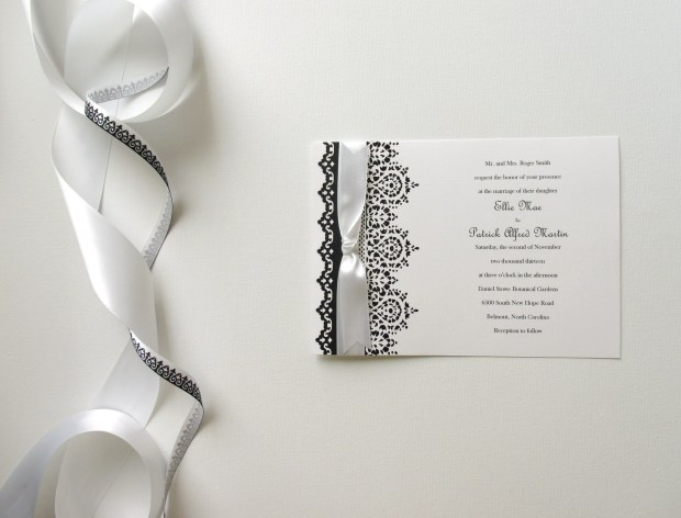 Classic, elegant, dramatic.  Hand-stamped and embossed lace and lace punch border make this design timeless!