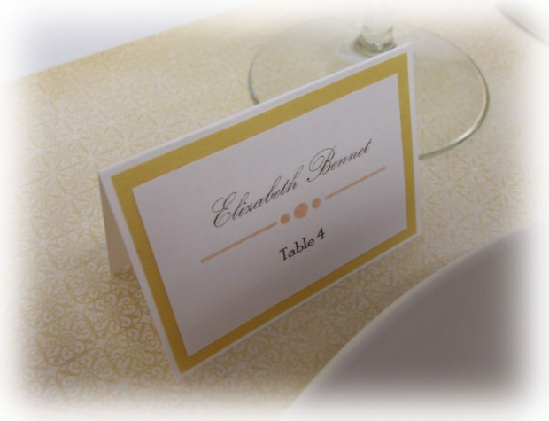 this simple escort card features a tent fold design gold vellum border and embossed design it measures 2 x 275 and is easy to customize using your
