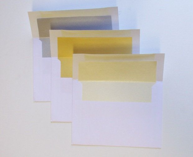 A6 White envelopes lined with Silver, Gold, and Champagne
