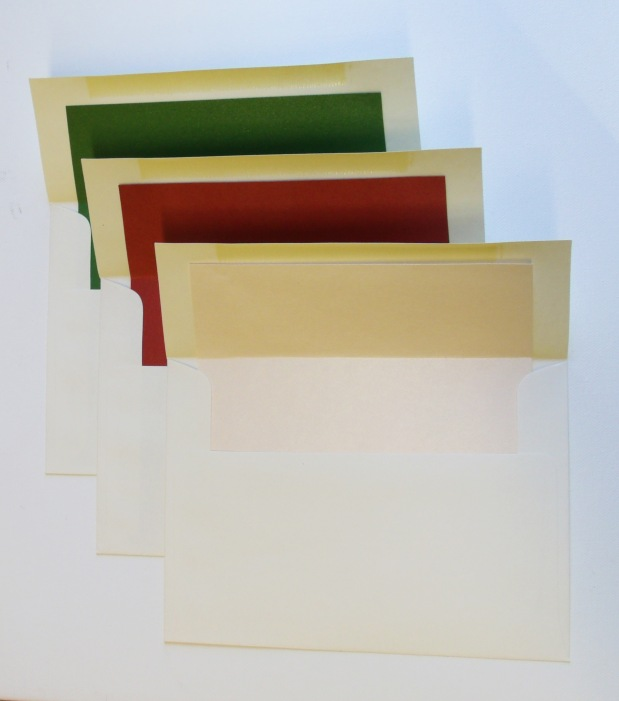 A7 Cream envelopes, lined with Green, Crimson, and Peach