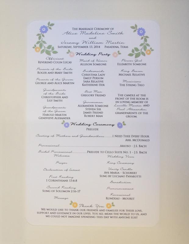 stamped floral program 3