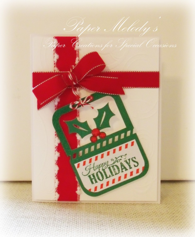 Happy Holidays Wrapped Gift and Tag card by Paper Melody's
