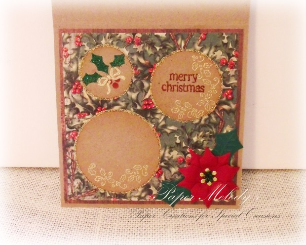 December 25th Christmas Holly Card by Paper Melody's