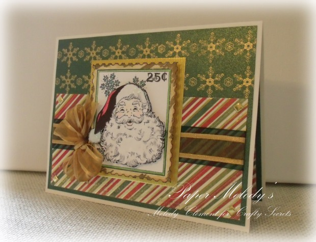 Snowflakes and Santa Christmas Card with Crafty Secrets Vintage Santa Digital Stamps