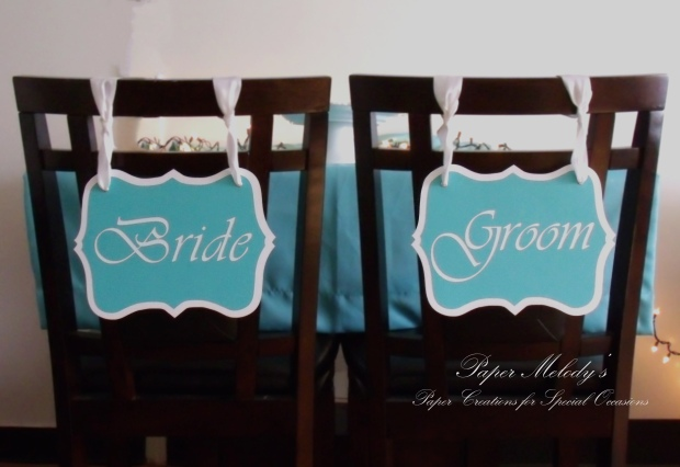 Bride & Groom Chair Signs made by Paper Melody's