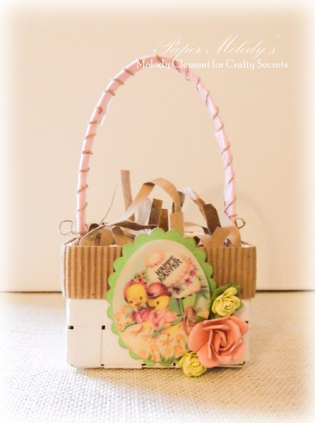 Upcycled Easter Basket by Paper Melody's for Crafty Secrets March Linky Party.  Using Easter images and digital stamps from Crafty Secrets along with recycled scraps