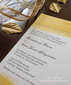 Gold Painted Wedding Invitation Set by Paper Melody's