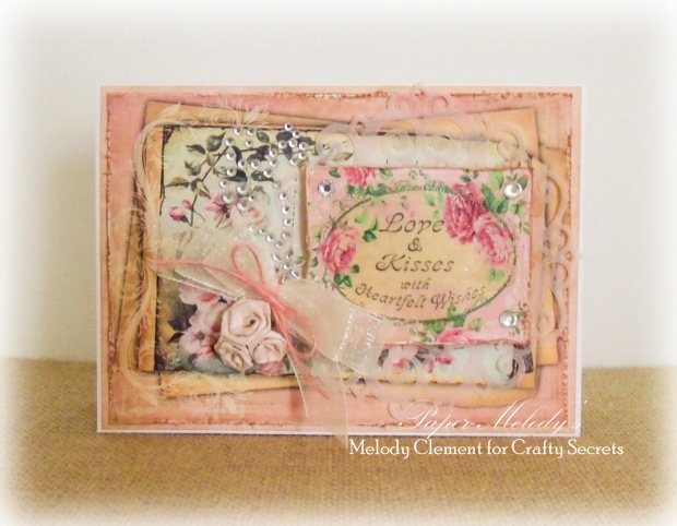 Love and Kisses Shabby Chic Valentine for Crafty Secrets by Paper Melody's