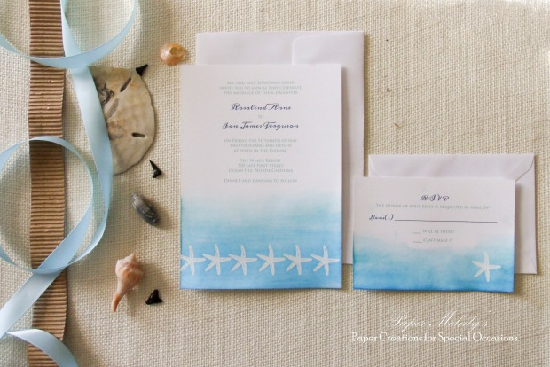 Watercolor Beach Wedding Invitation Set by Paper Melody's