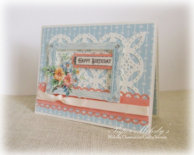 Birthday Card by Paper Melody's, using Creating with Vintage Patterns CD #1 from Crafty Secrets