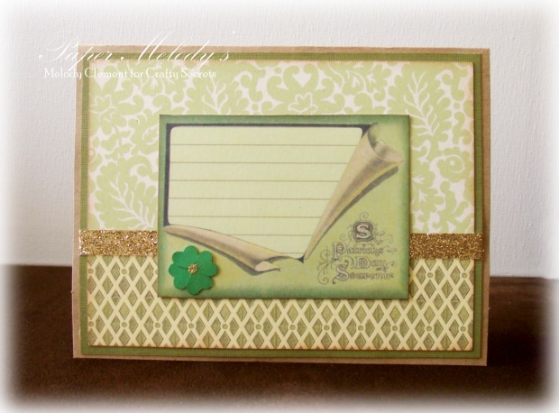 St. Patrick's Day card by Paper Melody's using Crafty Secrets Seasonal Images Booklet