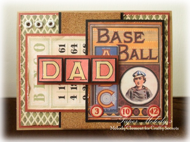 Baseball Father's Day Card by Paper Melody's using Crafty Secrets